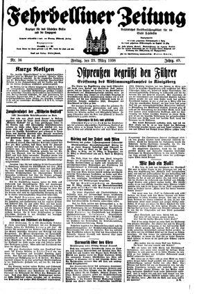 Fehrbelliner Zeitung vom 25.03.1938