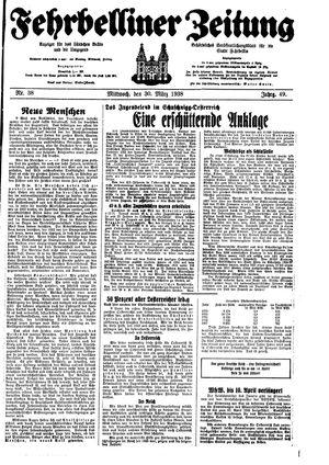 Fehrbelliner Zeitung vom 30.03.1938