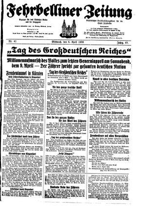 Fehrbelliner Zeitung vom 06.04.1938