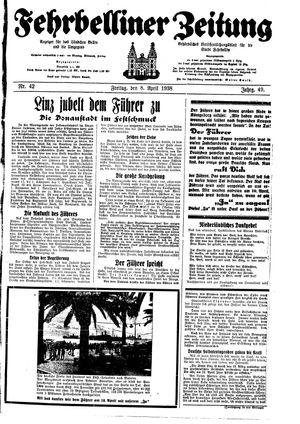 Fehrbelliner Zeitung vom 08.04.1938