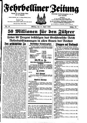 Fehrbelliner Zeitung vom 11.04.1938