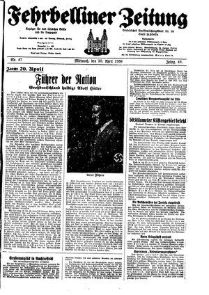 Fehrbelliner Zeitung vom 20.04.1938