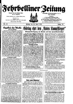 Fehrbelliner Zeitung vom 22.04.1938