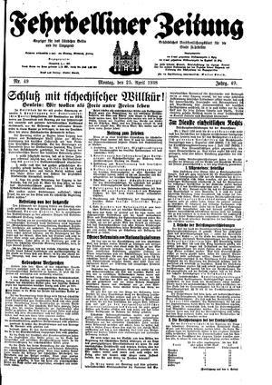 Fehrbelliner Zeitung on Apr 25, 1938