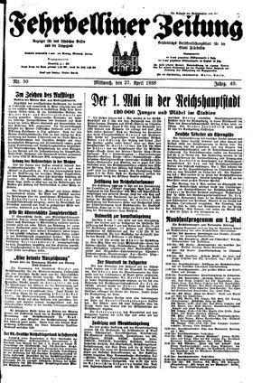 Fehrbelliner Zeitung vom 27.04.1938