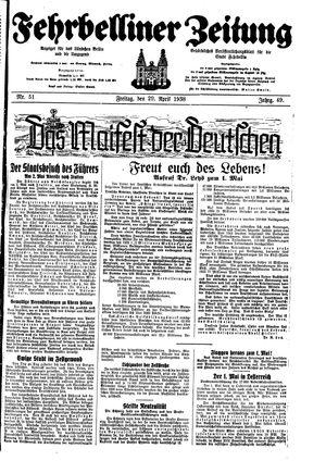 Fehrbelliner Zeitung vom 29.04.1938