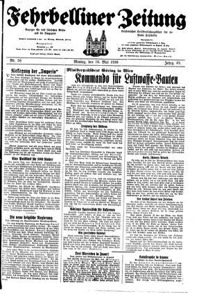 Fehrbelliner Zeitung vom 16.05.1938