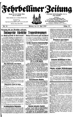 Fehrbelliner Zeitung vom 23.05.1938