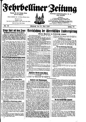 Fehrbelliner Zeitung vom 25.05.1938