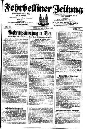 Fehrbelliner Zeitung vom 01.06.1938