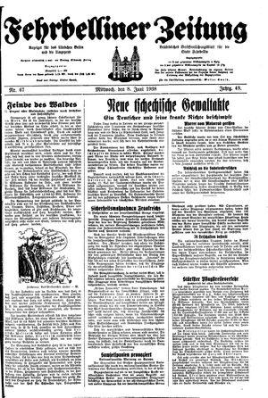 Fehrbelliner Zeitung vom 08.06.1938