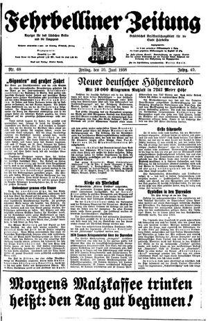 Fehrbelliner Zeitung vom 10.06.1938