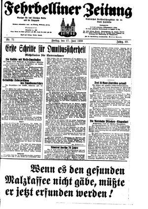 Fehrbelliner Zeitung vom 17.06.1938