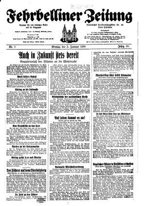 Fehrbelliner Zeitung vom 02.01.1939