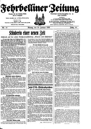 Fehrbelliner Zeitung vom 23.01.1939