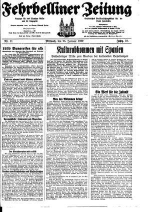 Fehrbelliner Zeitung vom 25.01.1939