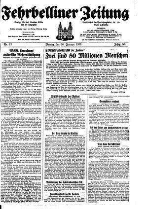 Fehrbelliner Zeitung vom 30.01.1939
