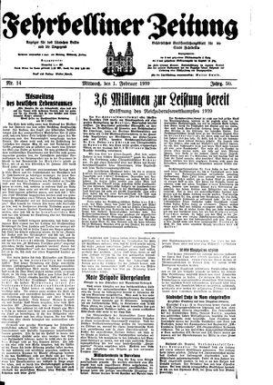 Fehrbelliner Zeitung vom 01.02.1939