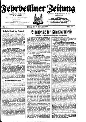 Fehrbelliner Zeitung vom 06.02.1939