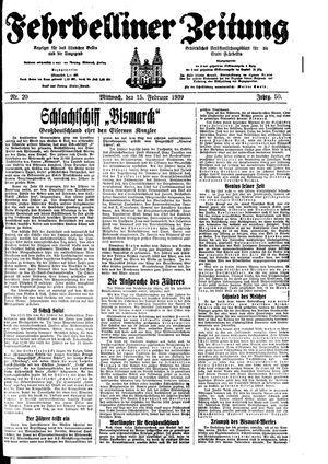 Fehrbelliner Zeitung vom 15.02.1939