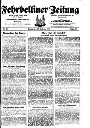 Fehrbelliner Zeitung vom 27.02.1939
