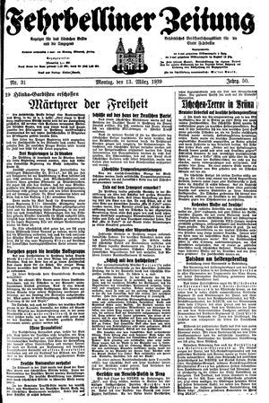 Fehrbelliner Zeitung on Mar 13, 1939