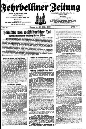 Fehrbelliner Zeitung vom 20.03.1939