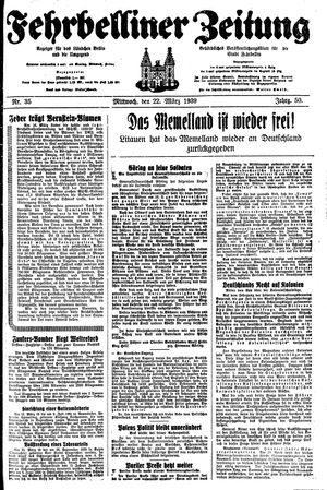Fehrbelliner Zeitung vom 22.03.1939