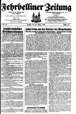 Fehrbelliner Zeitung vom 24.03.1939