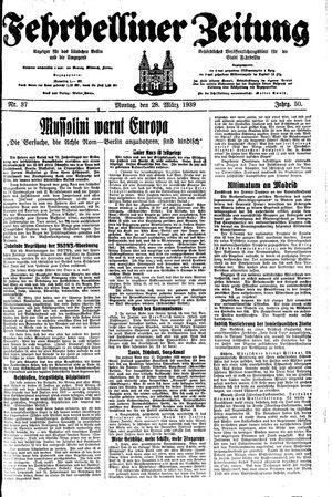 Fehrbelliner Zeitung vom 27.03.1939