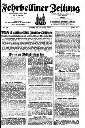 Fehrbelliner Zeitung vom 29.03.1939