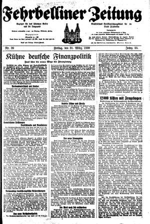 Fehrbelliner Zeitung vom 31.03.1939