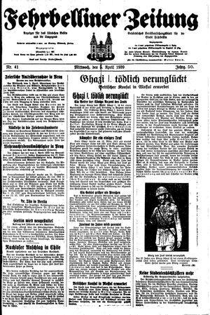 Fehrbelliner Zeitung vom 05.04.1939