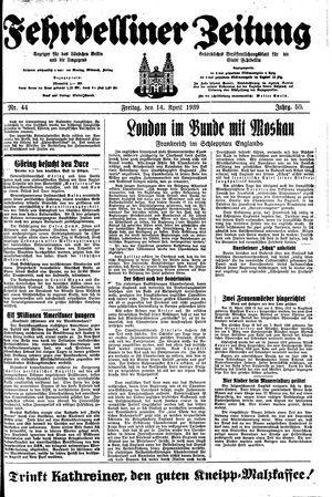 Fehrbelliner Zeitung vom 14.04.1939