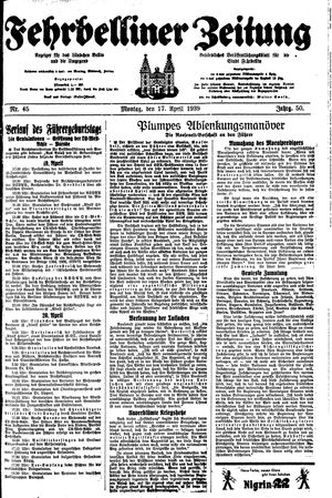 Fehrbelliner Zeitung vom 17.04.1939