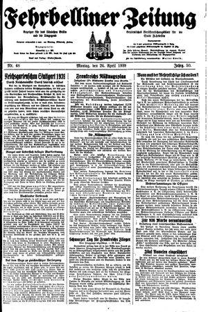 Fehrbelliner Zeitung vom 24.04.1939