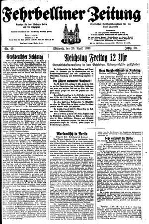 Fehrbelliner Zeitung vom 26.04.1939