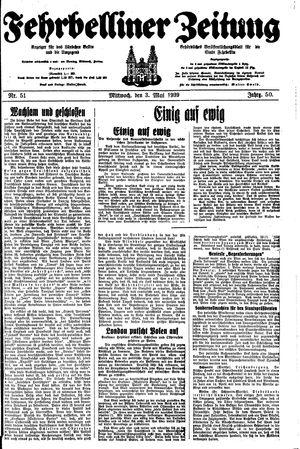 Fehrbelliner Zeitung vom 03.05.1939