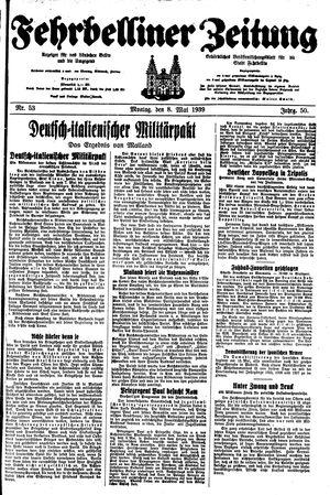 Fehrbelliner Zeitung vom 08.05.1939