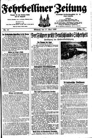 Fehrbelliner Zeitung vom 17.05.1939