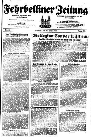 Fehrbelliner Zeitung vom 31.05.1939