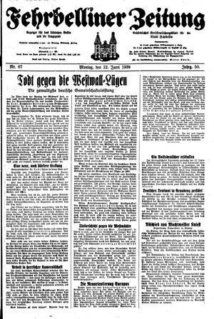 Fehrbelliner Zeitung vom 12.06.1939