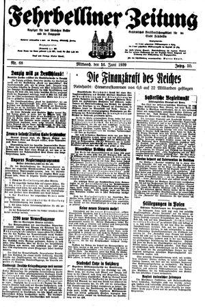 Fehrbelliner Zeitung vom 14.06.1939