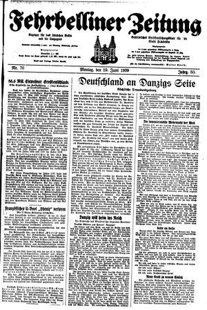 Fehrbelliner Zeitung vom 19.06.1939