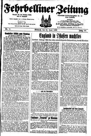 Fehrbelliner Zeitung vom 21.06.1939