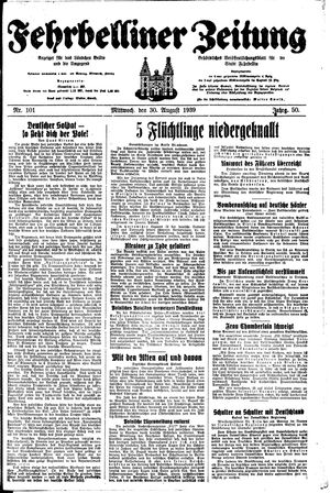 Fehrbelliner Zeitung vom 30.08.1939