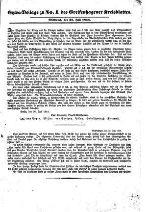 Greifenhagener Kreisblatt vom 31.07.1844