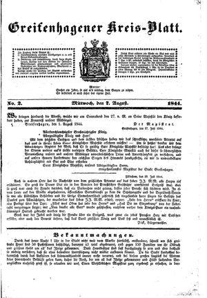 Greifenhagener Kreisblatt vom 07.08.1844