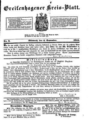 Greifenhagener Kreisblatt vom 04.09.1844