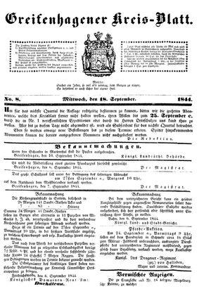 Greifenhagener Kreisblatt vom 18.09.1844